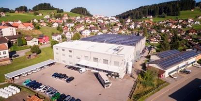 air view of thyssenkrupp Presta AG in Oberegg (Switzerland)