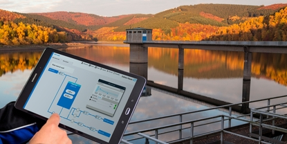 Water reservoir with dashboard of Netilion Water Networks Insights
